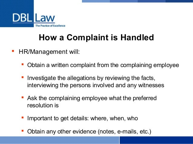 Employment Law Basics for Manager Training – Hr Complaint Form
