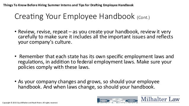 Employment law lunch & learn - Hiring Interns and Drafting Employee H…