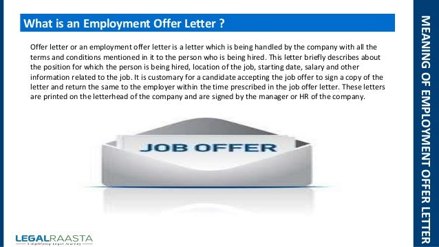 Employment Offer Letter  Format  Template  Legalraasta