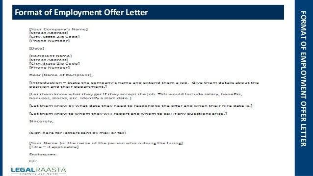 Employment Offer Letter | Format | Template | Legalraasta