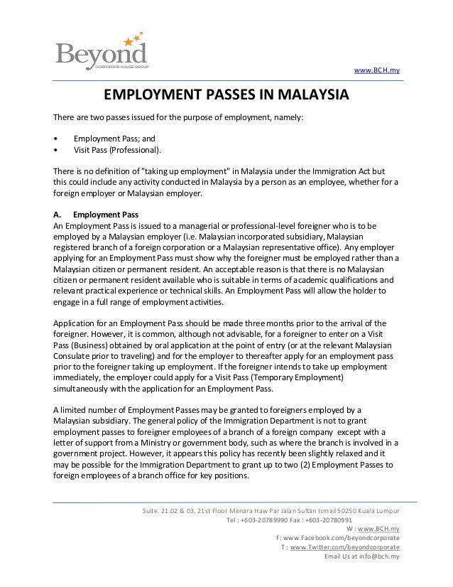 Employment Passes In Malaysia
