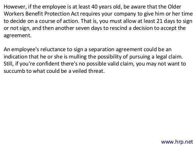 Employment Separation Agreement | Employment Separation Agreements May Provide Peace Of Mind
