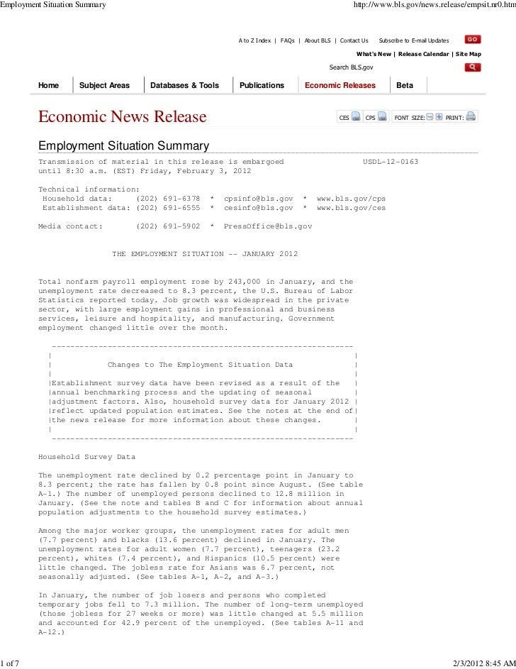 Employment Situation Summary                                                                          http://www.bls.gov/n...