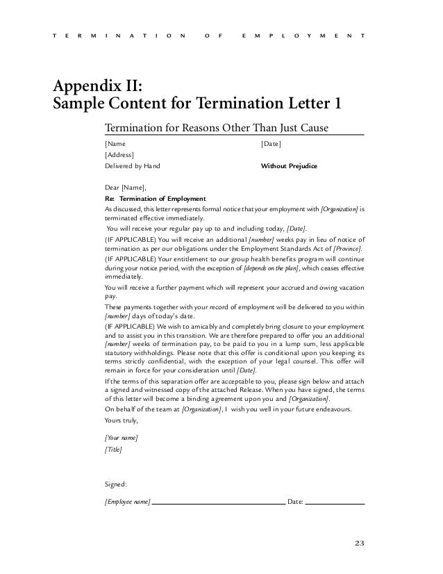 t e r m i n a t i o n o f e m p l o y m e n t 24 appendix ii sample content for termination letter 1 termination for reasons other than just cause - Sample Termination Letter Without Cause