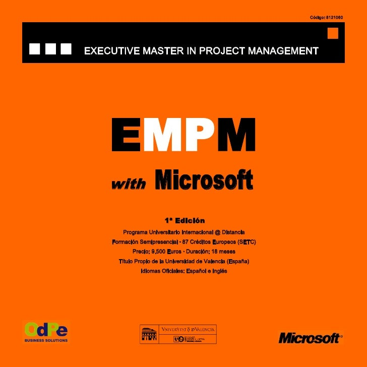 Código: 8121060     EXECUTIVE MASTER IN PROJECT MANAGEMENT         EMPM     with            Microsoft                     ...