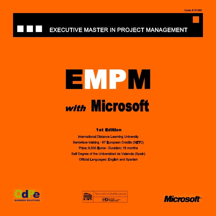 Code: 8121060     EXECUTIVE MASTER IN PROJECT MANAGEMENT         EMPM     with           Microsoft                       1...