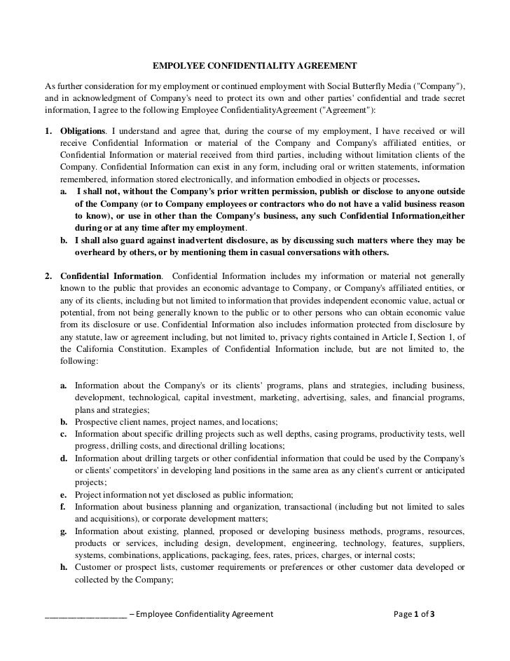 Employee Confidentiality Agreement Template Elitadearest