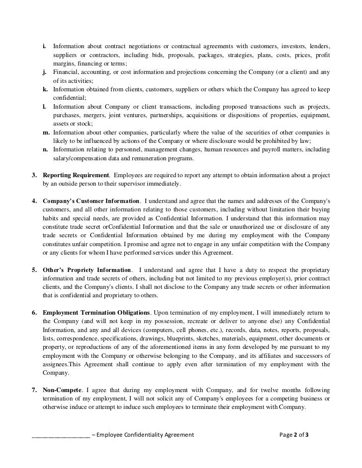 Empolyee confidentiality agreement employee confidentiality agreement page 1 of 3 2 platinumwayz