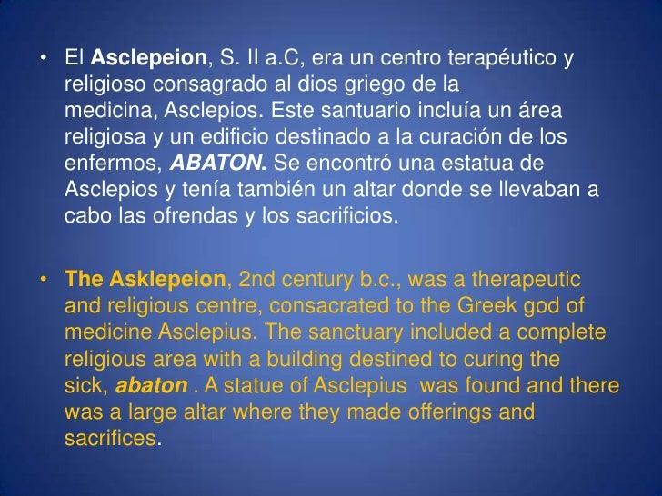 El Asclepeion, S. II a.C, era un centro terapéutico y religioso consagrado al dios griego de la medicina, Asclepios. Este ...