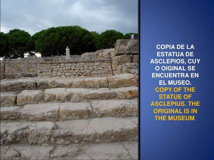 COPIA DE LA ESTATUA DE ASCLEPIOS, CUYO OIGINAL SE ENCUENTRA EN EL MUSEO.<br />COPY OF THE STATUE OF ASCLEPIUS. THE ORIGINA...