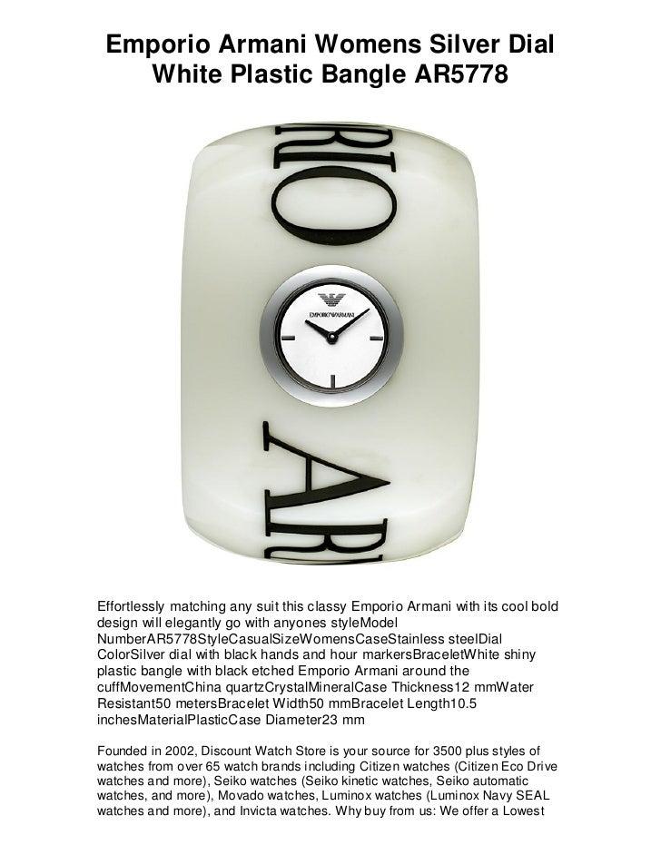 bbace84d Emporio armani womens silver dial white plastic bangle ...
