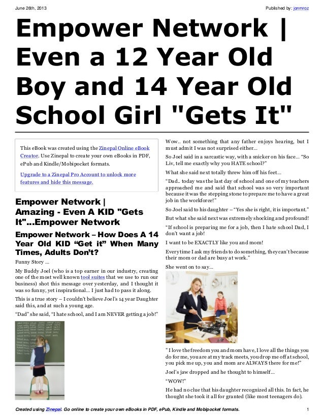 Empower Network | Even a 12 Year Old Boy (and a 14 year old