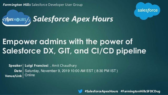 Salesforce Apex Hours Empower admins with the power of Salesforce DX, GIT, and CI/CD pipeline #SalesforceApexHours #Farmin...