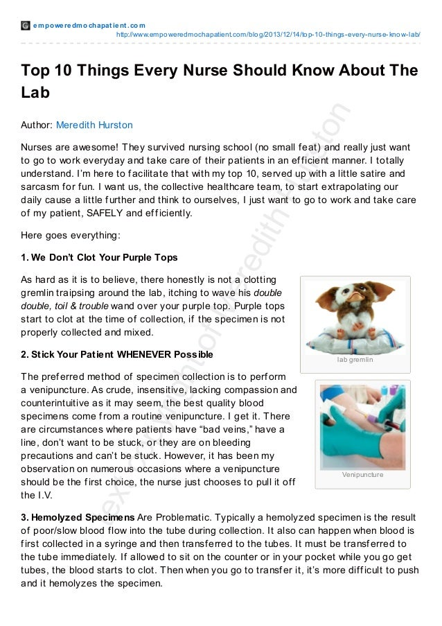10 Things Every Nurse Should Know About The Lab