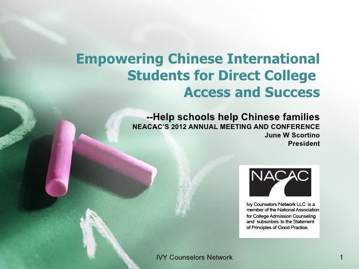 Empowering Chinese International     Students for Direct College             Access and Success          --Help schools he...