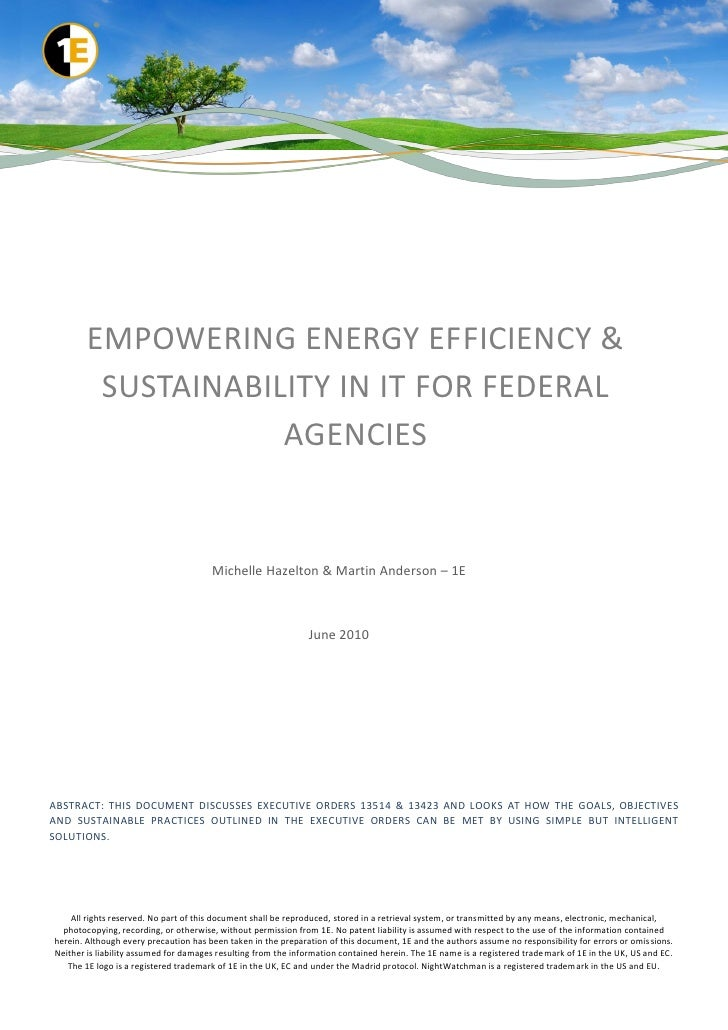 EMPOWERING ENERGY EFFICIENCY &         SUSTAINABILITY IN IT FOR FEDERAL                    AGENCIES                       ...