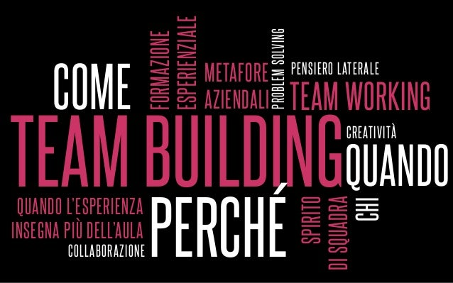 TEAM BUILDING COME QUANDO PERCHÉ TEAM WORKING FORMAZIONE ESPERIENZIALE SPIRITO DISQUADRA QUANDO L'ESPERIENZA INSEGNA PIÙ D...