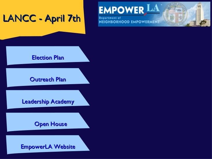 LANCC - April 7th       Election Plan      Outreach Plan    Leadership Academy        Open House   EmpowerLA Website