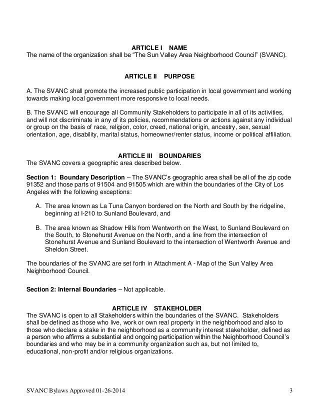 EmpowerLA Elections - Bylaws - Sun Valley Area Neighborhood Council