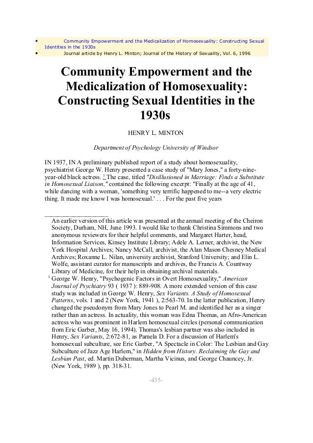 •            Community Empowerment and the Medicalization of Homosexuality: Constructing Sexual    Identities in the 1930s...