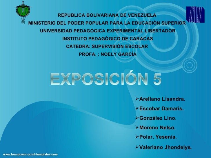 REPUBLICA BOLIVARIANA DE VENEZUELA MINISTERIO DEL PODER POPULAR PARA LA EDUCACIÓN SUPERIOR  UNIVERSIDAD PEDAGOGICA EXPE...