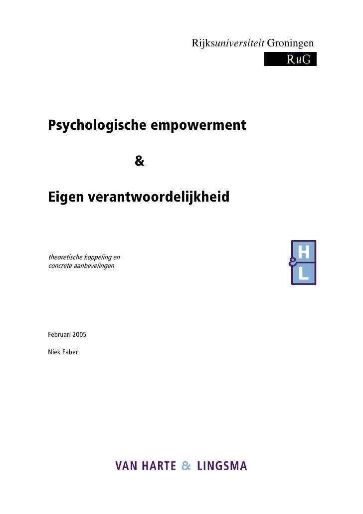 Rijksuniversiteit Groningen     Psychologische empowerment                              &  Eigen verantwoordelijkheid   th...