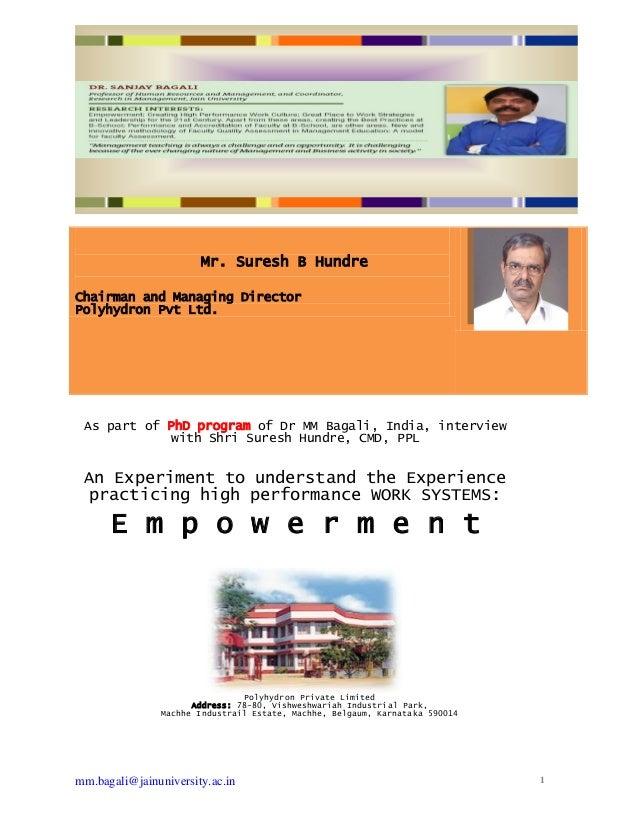 mm.bagali@jainuniversity.ac.in 1Mr. Suresh B HundreChairman and Managing DirectorPolyhydron Pvt Ltd.As part of PhD program...