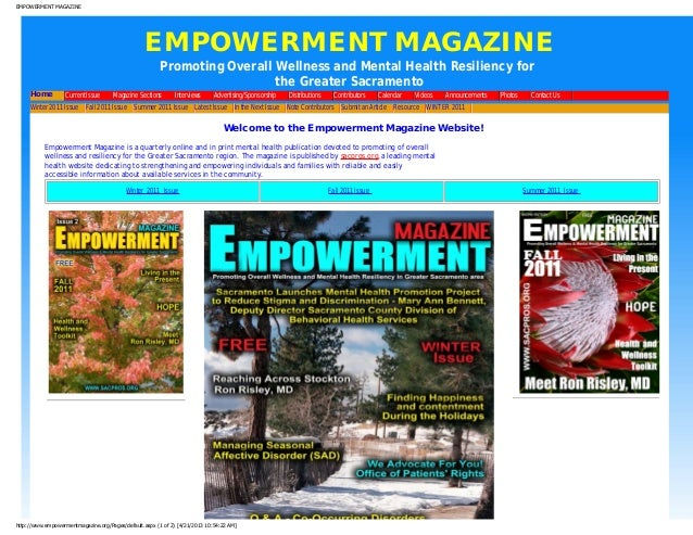 EMPOWERMENT MAGAZINEEMPOWERMENT MAGAZINEPromoting Overall Wellness and Mental Health Resiliency forthe Greater SacramentoH...