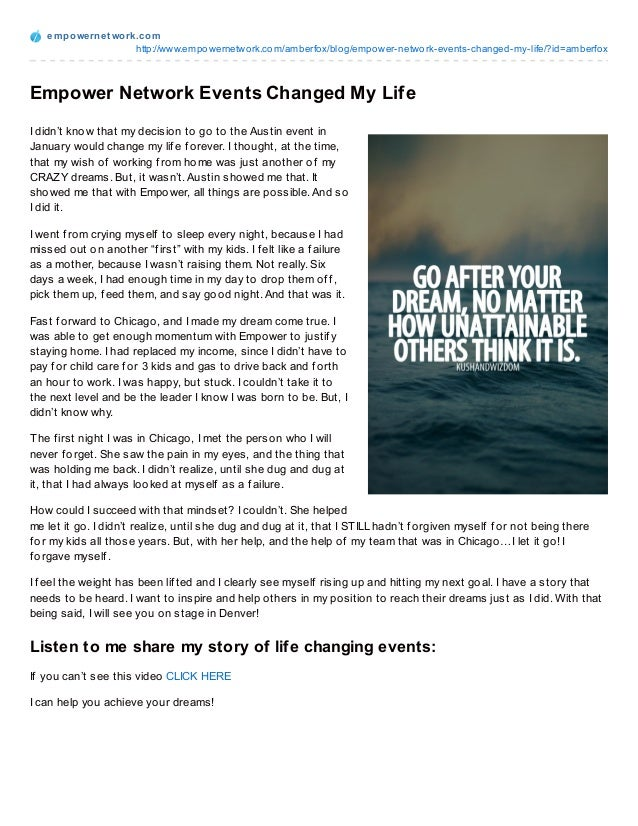an event that changed my life essay free