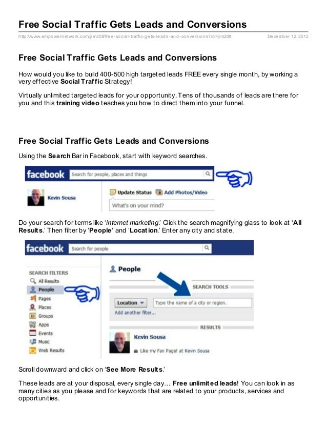 Free Social Traffic Gets Leads and Conversionshttp://www.empowernetwork.com/jim208/free- social- traffic- gets- leads- and...
