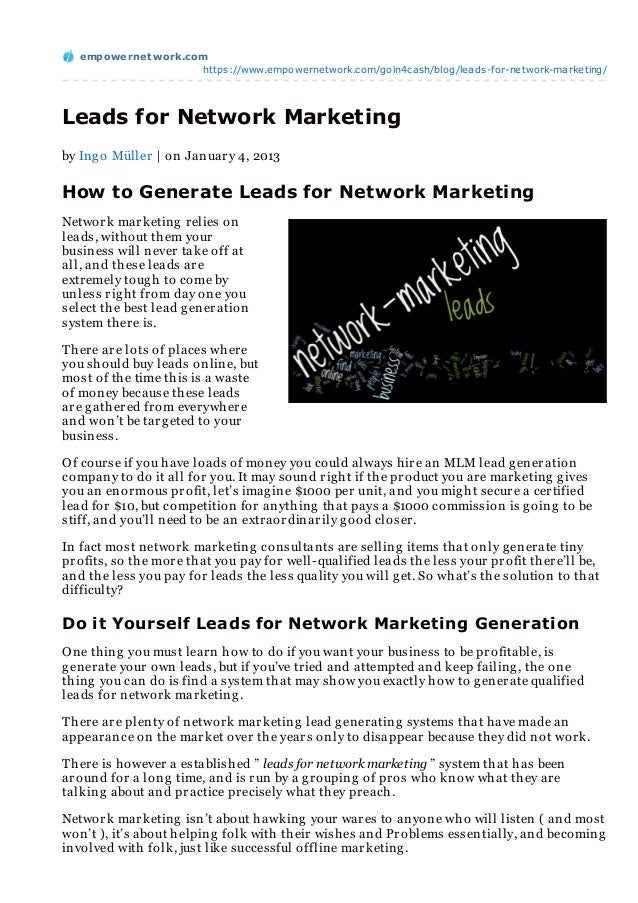 empowernet work.com                     https://www.empowernetwork.com/goin4cash/blog/leads-for-network-marketing/Leads fo...