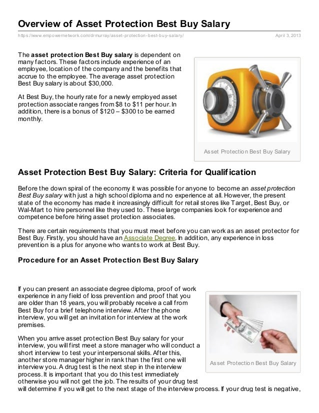 Overview Of Asset Protection Best Buy Salary