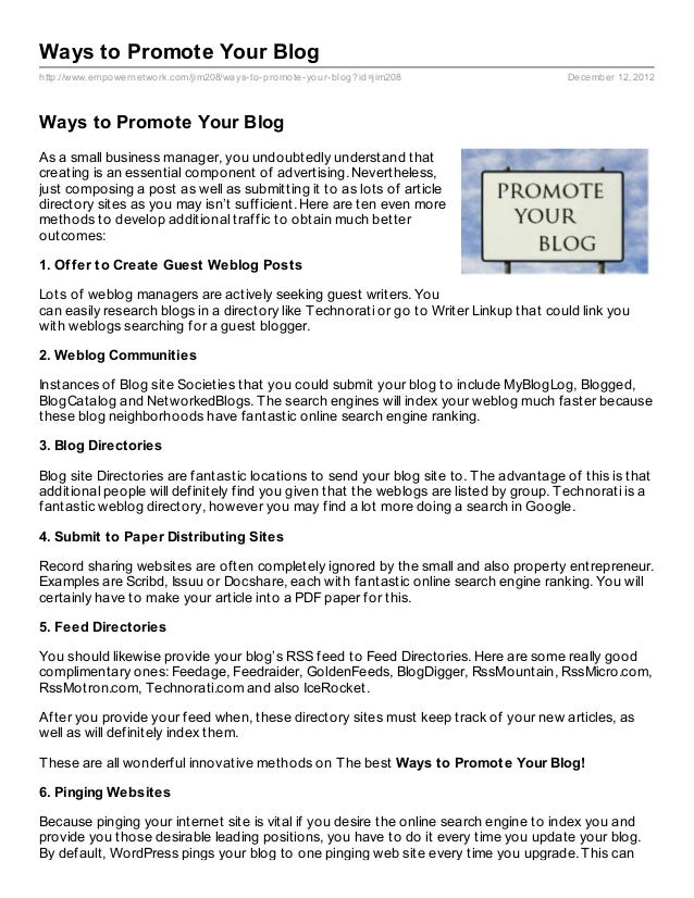 Ways to Promote Your Bloghttp://www.empowernetwork.com/jim208/ways- to- promote- your- blog?id=jim208            December ...