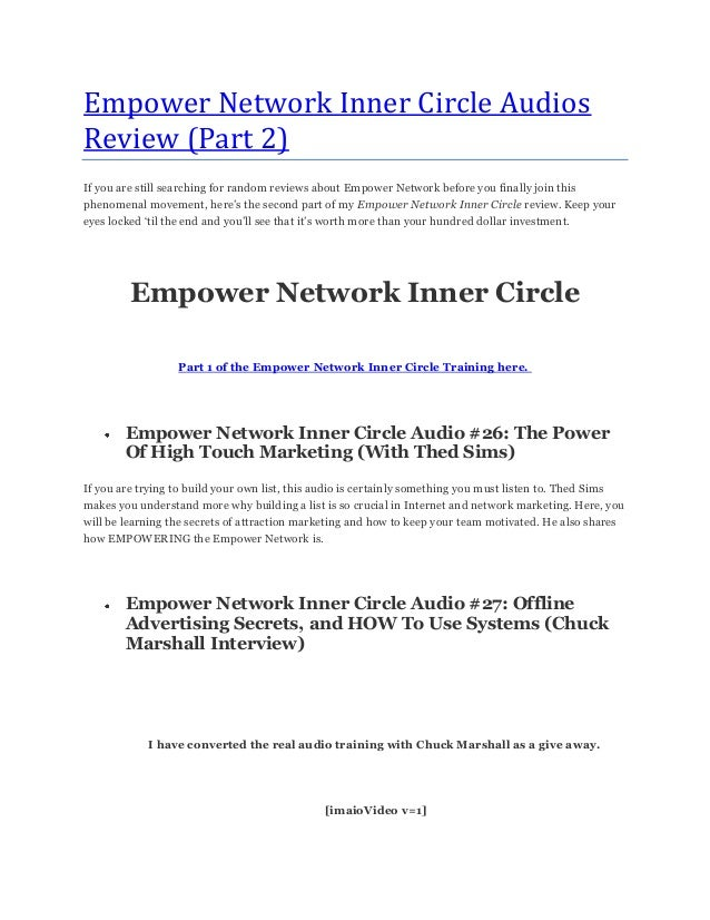 Empower Network Inner Circle AudiosReview (Part 2)If you are still searching for random reviews about Empower Network befo...