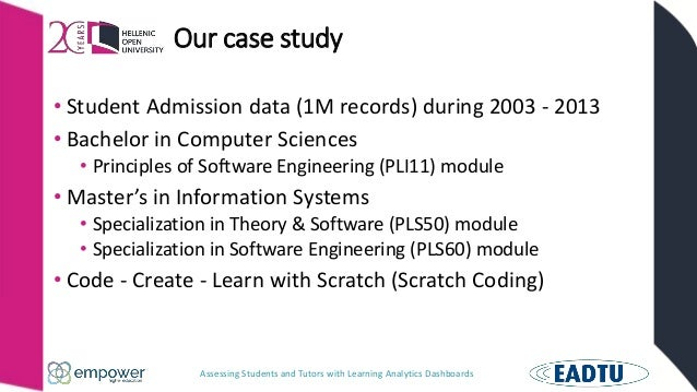 Assessing Students and Tutors with Learning Analytics Dashboards Our case study • Student Admission data (1M records) duri...