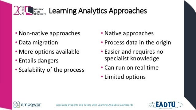 Assessing Students and Tutors with Learning Analytics Dashboards Learning Analytics Approaches • Non-native approaches • D...