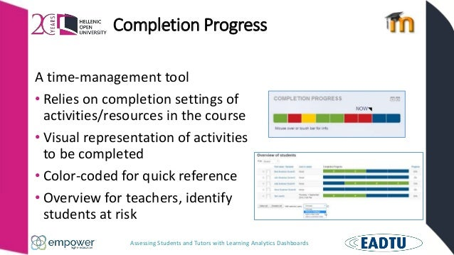 Assessing Students and Tutors with Learning Analytics Dashboards Completion Progress A time-management tool • Relies on co...