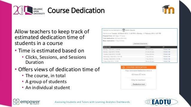 Assessing Students and Tutors with Learning Analytics Dashboards Course Dedication Allow teachers to keep track of estimat...