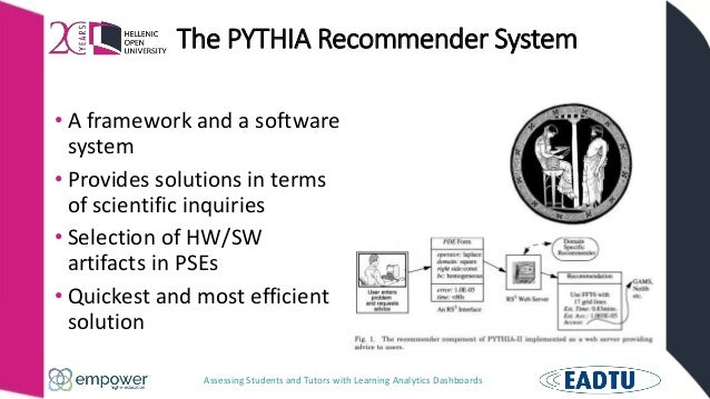 Assessing Students and Tutors with Learning Analytics Dashboards The PYTHIA Recommender System • A framework and a softwar...