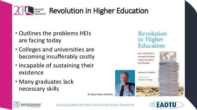 Assessing Students and Tutors with Learning Analytics Dashboards Revolution in Higher Education • Outlines the problems HE...