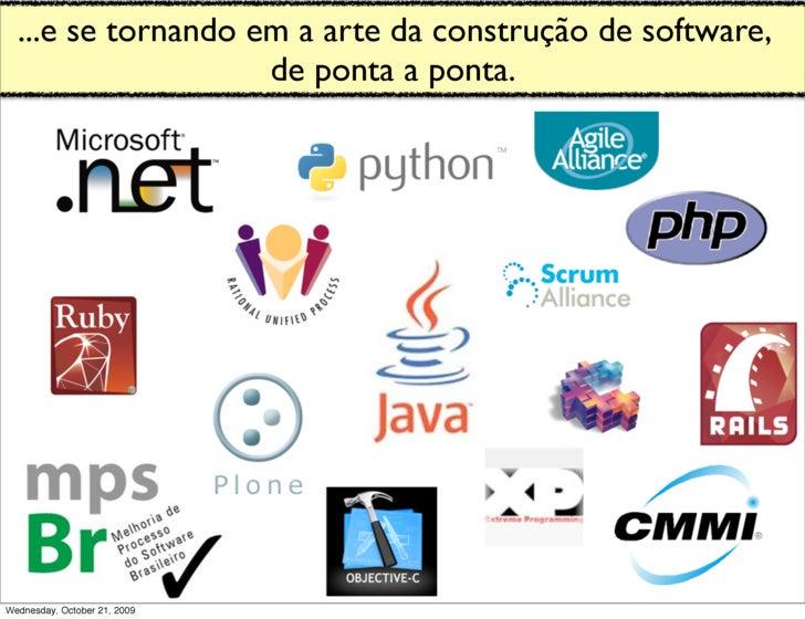 ...e se tornando em a arte da construção de software,                     de ponta a ponta.     Wednesday, October 21, 2009