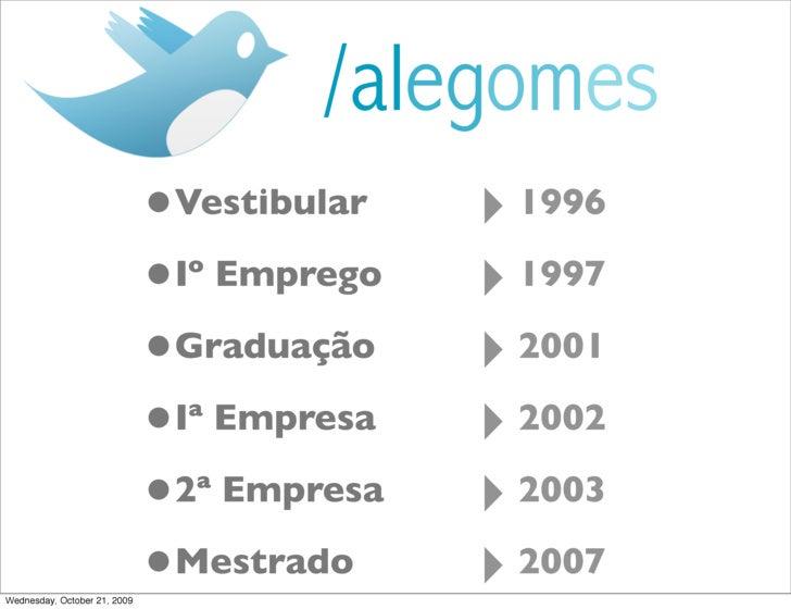 /alegomes                               •Vestibular   ‣ 1996                               •Iº Emprego   ‣ 1997           ...