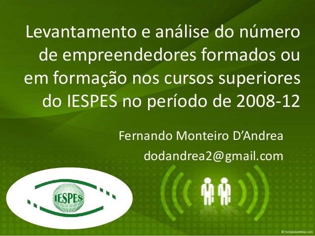 Levantamento e análise do número  de empreendedores formados ouem formação nos cursos superiores  do IESPES no período de ...