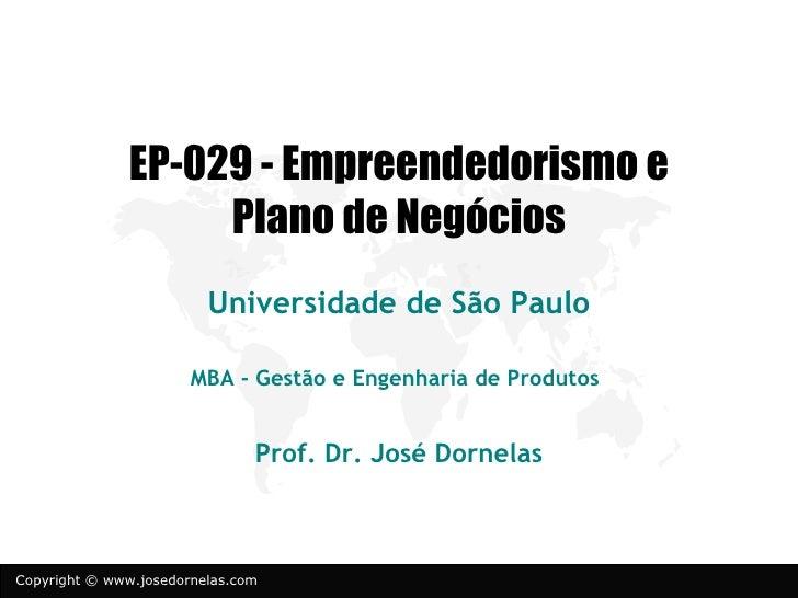 EP-029 - Empreendedorismo e                    Plano de Negócios                         Universidade de São Paulo        ...