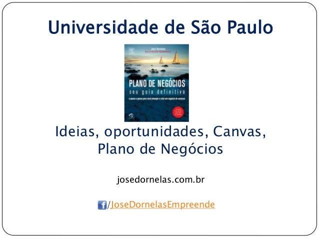 Universidade de São Paulo Ideias, oportunidades, Canvas, Plano de Negócios josedornelas.com.br /JoseDornelasEmpreende