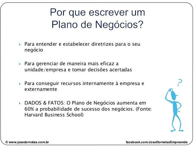© www.josedornelas.com.br facebook.com/JoseDornelasEmpreende  Para entender e estabelecer diretrizes para o seu negócio ...