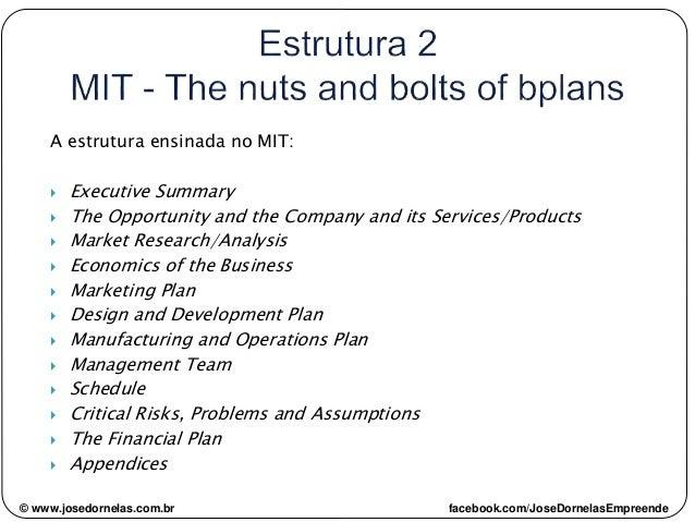 © www.josedornelas.com.br facebook.com/JoseDornelasEmpreende A estrutura ensinada no MIT:  Executive Summary  The Opport...