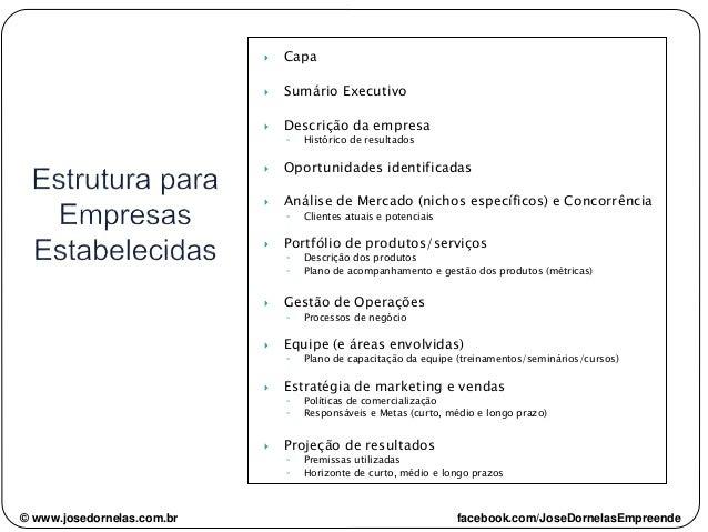 © www.josedornelas.com.br facebook.com/JoseDornelasEmpreende  Capa  Sumário Executivo  Descrição da empresa ◦ Histórico...