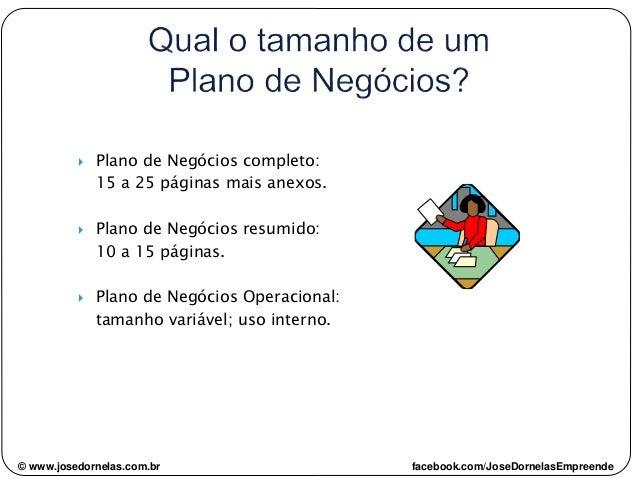© www.josedornelas.com.br facebook.com/JoseDornelasEmpreende  Plano de Negócios completo: 15 a 25 páginas mais anexos.  ...