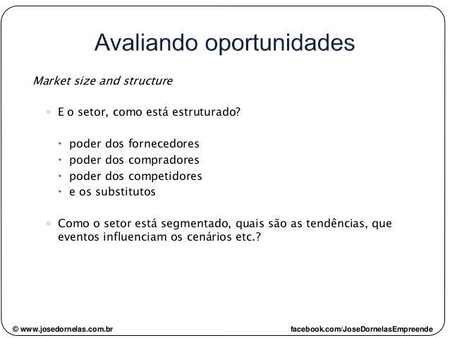 © www.josedornelas.com.br facebook.com/JoseDornelasEmpreende Market size and structure ◦ E o setor, como está estruturado?...